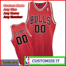 Chicago Bulls Custom Authentic Style Road Jersey Red