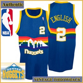 Denver Nuggets Authentic Style Throwback Blue Road Jersey #2 Alex English