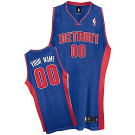 Detroit Pistons Custom Authentic Style Road Jersey Blue