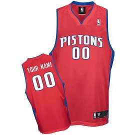 Detroit Pistons Custom Authentic Style Alternate Jersey Red