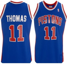 Detroit Pistons Throwback Authentic Style Road Jersey Blue #11 Isiah Thomas