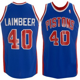 Detroit Pistons Throwback Authentic Style Road Jersey Blue #40 Bill Laimbeer