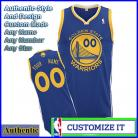 Golden State Warriors Custom Authentic Style Road Jersey Blue