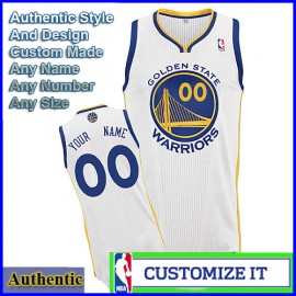 Golden State Warriors Custom Authentic Style Home Jersey White