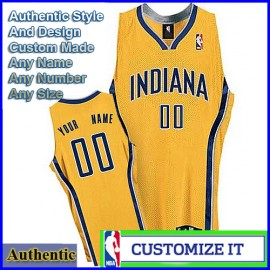 Indiana Pacers Custom Authentic Style Alternate Jersey Gold