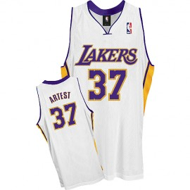 LA Lakers Authentic Alternate Style Jersey White #37 Ron Artest