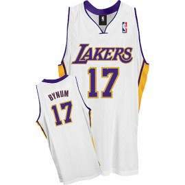 LA Lakers Authentic Alternate Style Jersey White #17 Andrew Bynum