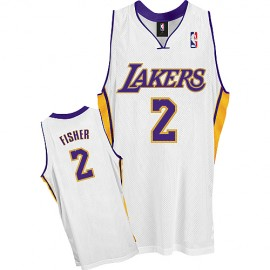 LA Lakers Authentic Alternate Style Jersey White #2 Derek Fisher