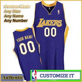 Los Angeles Lakers Custom Authentic Style Road Jersey Purple