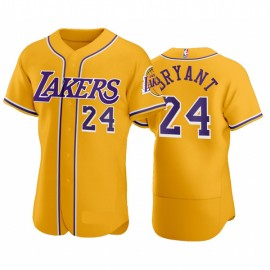 Los Angeles Lakers Kobe Bryant Gold Baseball Style Front Button Jersey