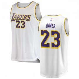 LeBron James #23 Los Angeles Lakers Authentic Style Away White Jersey