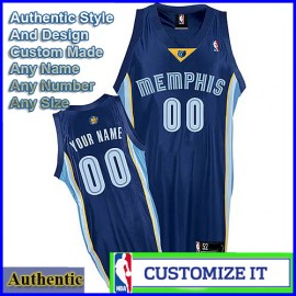 Memphis Grizzlies Custom Authentic Style Road Jersey Blue