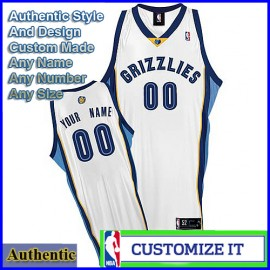 Memphis Grizzlies Custom Authentic Style Home Jersey White