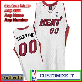 Miami Heat Custom Authentic Style Home Jersey White
