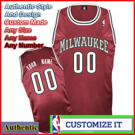 Milwaukee Bucks Custom Authentic Style Alternate Burgundy  Jersey