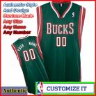 Milwaukee Bucks Custom Authentic Style  Road Jersey Green