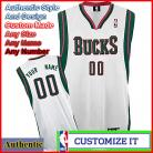 Milwaukee Bucks Custom Authentic Style  Home White  Jersey