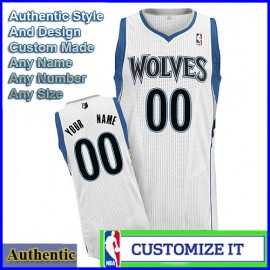 Minnesota Timberwolves Custom Authentic Style Home Jersey White