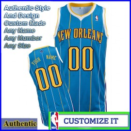 New Orleans Hornets Custom Authentic Style Road Jersey Blue