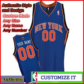 New York Knicks Custom Authentic Style Classic Blue Road Jersey