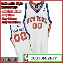New York Knicks Custom Authentic Style Classic White Home Jersey