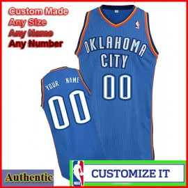 Oklahoma City Thunder Custom Authentic Style Road Jersey Blue