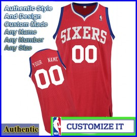 Philadelphia 76ers Customized Authentic Style Star Alternate Jersey Red