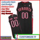 Toronto Raptors Custom Authentic Style Alternate Jersey Black