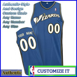 Washington Wizards Custom Authentic Style Classic Road Blue Jersey