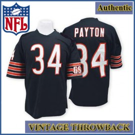 Chicago Bears Authentic Style Throwback Navy Jersey #34 Walter Payton