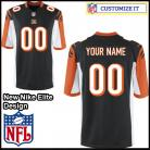 Cincinnati Bengals Nike Elite Style Team Color Black Jersey (Pick A Name)