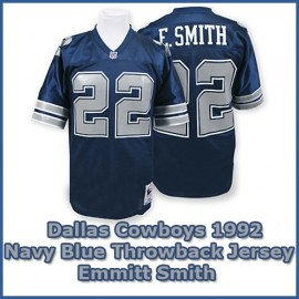 Dallas Cowboys 1992 NFL Navy Blue Jersey #22 Emmitt Smith