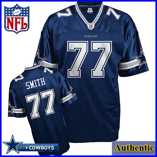 Dallas Cowboys NFL Authentic Blue Football Jersey #77 Tyron Smith