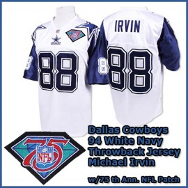 Dallas Cowboys 1994 NFL White Navy Jersey #88 Michael Irvin w/ 75 th Ann Patch