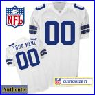 Dallas Cowboys RBK Style  Authentic White Jersey (Pick A Player)