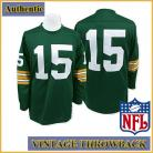 Green Bay Packers Authentic Throwback Long Sleeve Green Jersey #15 Bart Starr