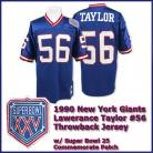 New York Giants 1990 NFL Dark Blue Jersey #56 Lawrence Taylor