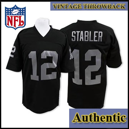 new product 5db70 374c0 Oakland Raiders Authentic Style Throwback Black Jersey #12 ...