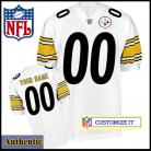 Pittsburgh Steelers Authentic RBK Style White Ladies Jersey (Customized or Blank)