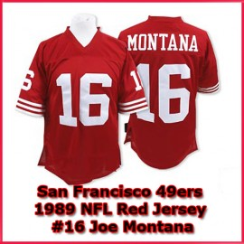 San Francisco 49ers Authentic Youth Size Throwback Red Jersey #16 Joe Montana