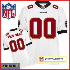 Tampa Bay Buccaneers RBK Style Authentic White Ladies Jersey (Customized or Blank)