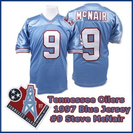 Tennessee Oilers 1997 NFL Light Blue Jersey #9 Steve McNair