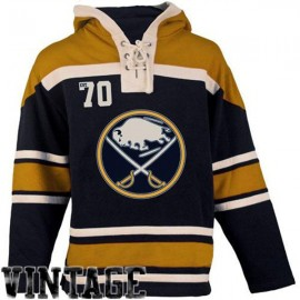 Mens Buffalo Sabres Old Time Navy Blue Lace Heavyweight Hoodie Hockey Jersey