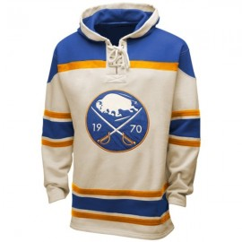 Mens Buffalo Sabres Old Time White Lace Heavyweight Hoodie Hockey Jersey