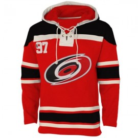Mens Carolina Hurricanes Old Time Red Lace Heavyweight Hoodie Hockey Jersey