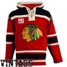 Chicago Blawkhawks Old Time Red Lace Heavyweight Hoodie Hockey Jersey