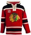 Chicago Blawkhawks Old Time Sharp #10 Red Lace Heavyweight Hoodie Hockey Jersey