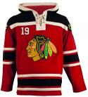 Chicago Blawkhawks Old Time Towes #19 Red Lace Heavyweight Hoodie Hockey Jersey