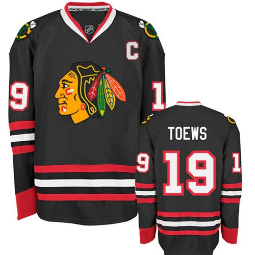 the latest 665f1 8c620 Chicago Blackhawks Authentic Style Black Game Jersey #19 ...