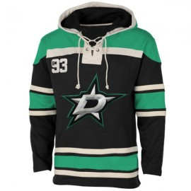 Mens Dallas Stars Old Time Black Lace Heavyweight Hoodie Hockey Jersey